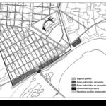 Ubicación de las instalaciones portuarias sobre el plano de la ciudad romana (E. León 2010)